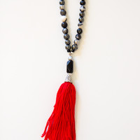 Work It Red Tassel Necklace