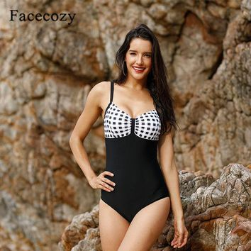 One Piece Bathing Suit Facecozy Women  Swimsuit Sexy Patchwork Beach Wear Bathing Suit Plus Size Swim Suits Swimming For Ladies KO_9_1