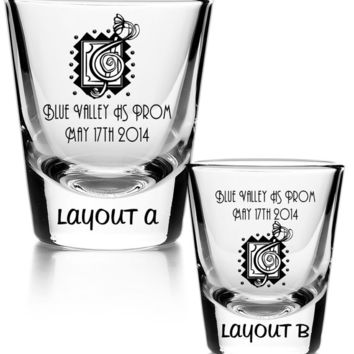 75 Personalized imprinted shot glass Mardi Gras Party