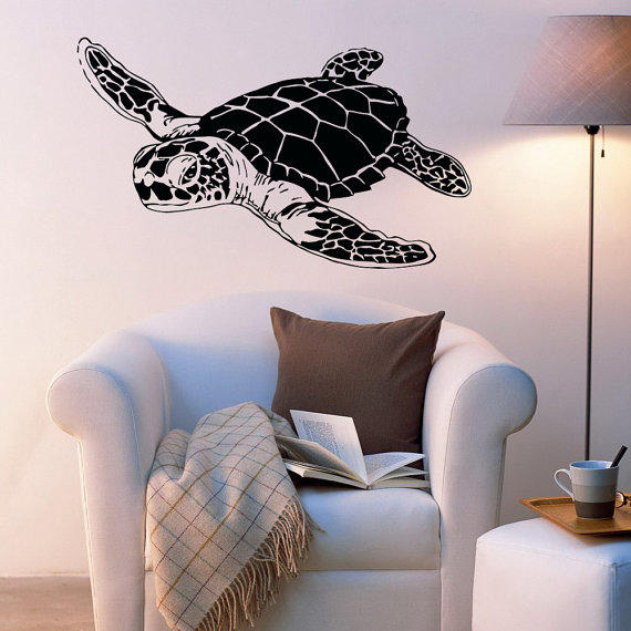 sea turtle wall decals turtle wall decal from coolvinyldesign on. Black Bedroom Furniture Sets. Home Design Ideas