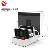Avantree PowerHouse Fast Multiple Devices Charging Station | 4 Port 22.5W 4.5A Smart Charger + Universal Docking + Cord Organizer | For Smartphones & Tablets [Not with thick Case] - White