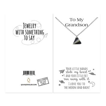 Holly Ball Chain Necklace for Grandson with Galaxy Design Pendant, I Love you to the Moon and Back, comes with Inspirational and Motivational Quote