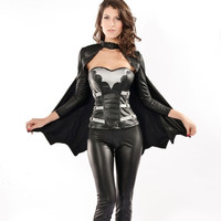 Adult Movie Comics The Dark Knight Rises Batman Cosplay Sexy Warrior Costume M&L (Size: L, Color: Black) = 1927852100