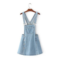 Slim Jeans Denim One Piece Dress  _ 9663