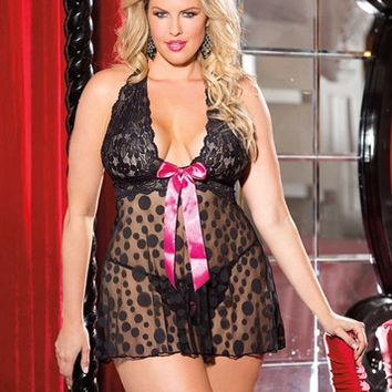 Shirley of Hollywood Large Polka Dot Net Babydoll - Black - Queen Size