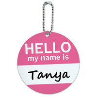 Tanya Hello My Name Is Round ID Card Luggage Tag