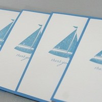 Hand Stamped Sailboat Thank You Stationery Note Card Set of Five | Laurascrafts - Paper/Books on ArtFire