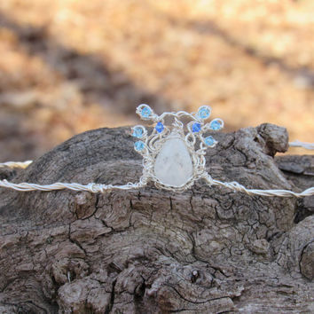 Rainbow Moonstone and Swavorski Crystal Wire Wrap Circlet Crown-Flashy Moonstone Teardrop Fairy Tiara, Bridal Headpiece