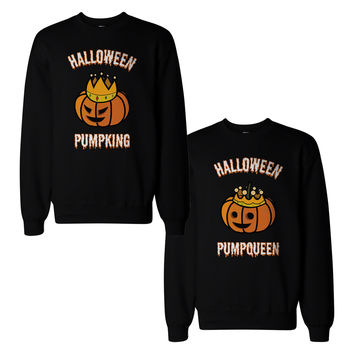 Halloween Pumpking And Pumpqueen Couple Sweatshirts Matching Tops