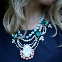 Caroline - Fancy swarovski and acrylic rhinestones statement necklace