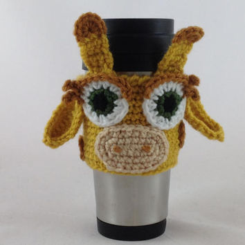 Ready to Ship - Coffee Cup Cozy - Coffee Cup Sleeve - Cup Cozy - Giraffe Gift - Crochet Cup Cozy - Crochet Coffee Cozy - Crochet Tea Cozy