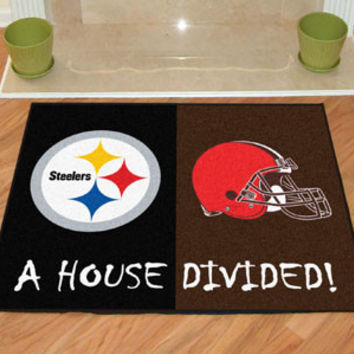 "Pittsburgh Steelers/Cleveland Browns House Divided Rugs 33.75""x42.5"""