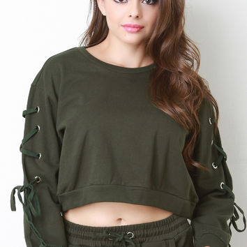 French Terry Laced Sleeves Crop Top