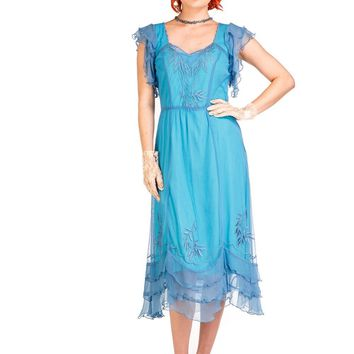 Nataya AL-284 Olivia 1920s Flapper Style Party Dress in Turquoise