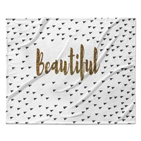 "Suzanne Carter ""Beautiful"" Gold Typography Fleece Throw Blanket"