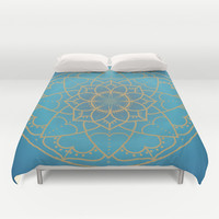 Mandala in Teal and Blue Duvet Cover by Lena Photo Art