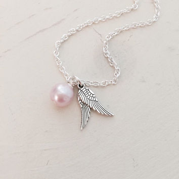Infant Child Loss Necklace, Miscarriage, Pregnancy Loss, Stillborn, SIDS, Memorial, Remembrance, Angel Wings, Simple Dainty Necklace