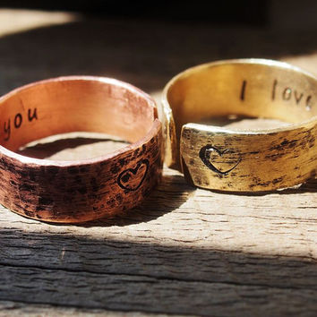 Couples ring, matching couples rings, Hand stamped ring, custom ring, hand stamped ring, quote rings, personalized quote ring, I love you
