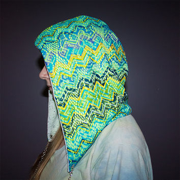 Festival hood - Reversible with Interchangeable Chain - Neon Chevron Lace