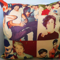 Stuffed Vintage Look 1D One Direction Throw Pillow Cover. 1D Shaped Collage Pillow.  Love One Direction