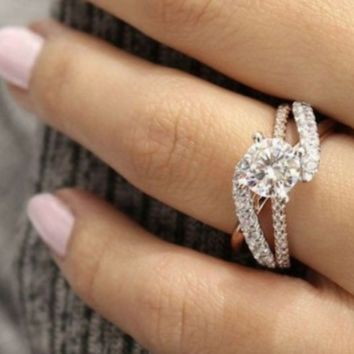 New rose gold-plated diamond ring with micro-inlaid zircon full diamond ring F0505-1