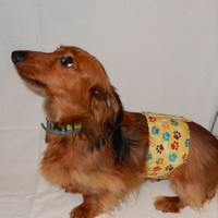 Dog belly band yellow with paws Set of 2 housebreaking male dog diaper adjustable washable