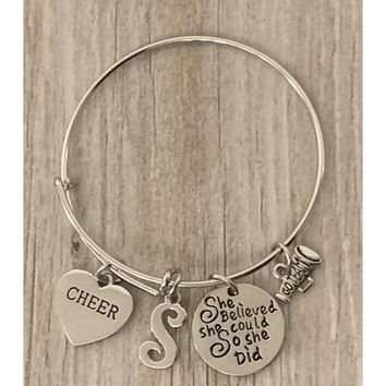 Personalized Girls Cheer Bangle Bracelet - She Believed She Could So She Did
