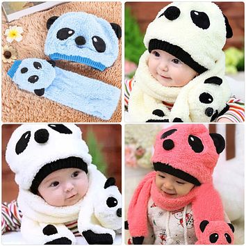 Baby Winter Warm Hat Caps Infant Super Cute Warm Wool Knitted Panda Cap Match Scarf Hat Set Newborn Cartoon Beanie Caps