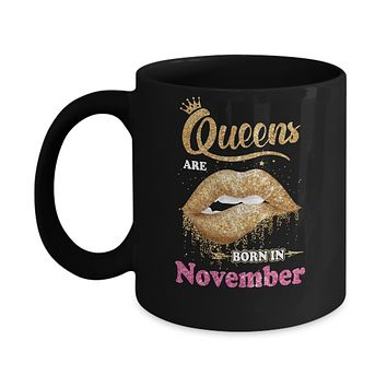 Lipstick Black Queens Are Born In November Birthday Gift Mug