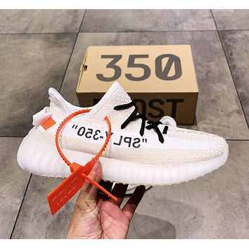 Adidas Yeezy Boost 350 V2 x Off-White co-branded new men's and women's popcorn running shoes