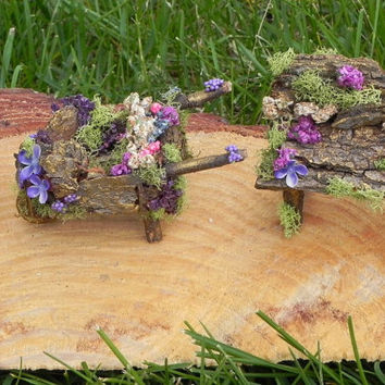 3 piece fairy furniture set or fairy garden. Fairy wheelbarrow, fairy bench, fairy flower pot. Miniature garden, garden decor, charming gift