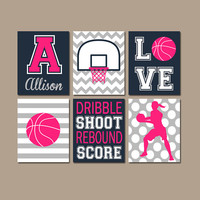 Girl Basketball Wall Art, Basketball Decor, Canvas or Prints, Sports Theme Girl Bedroom Pictures, Girl Sports Room Decor, Set of 6 Artwork