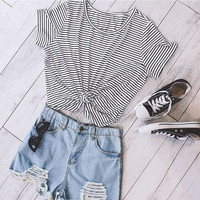 Round-neck Women's Fashion Summer Stripes Simple Design Striped Plus Size Short Sleeve Bottoming Shirt = 5895705345