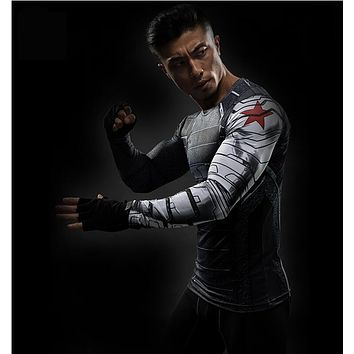 3D Print T-Shirts Mens Long-Sleeve T Shirts Fitness Male cosplay costume CrossFit Tops
