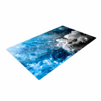 "Shirlei Patricia Muniz ""We Are Waiting For.."" Blue Abstract Woven Area Rug"