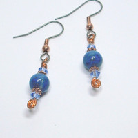 Lapis, Copper, and Crystal Dangle Earrings