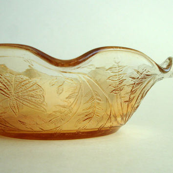 Iridescent Peach Fluted Glass Bowl, 1950's Jeanette Glass Marigold Floragold Louisa, Candy Dish, Floral Vine Pattern