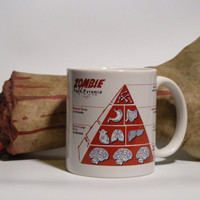 Coffee Mug Zombie Food Pyramid Funny cup Zombie by Mugsleys