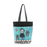 Gothic Dead Girl w/ Cats & Skulls Canvas Tote Bag Purse Art