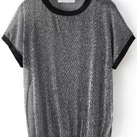 Black Panel Short Sleeves Sheer T-Shirt