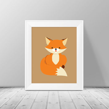 Fox Nursery Print - Instant Download, PRINTABLE 8x10, Nursery Print, Boy or Girls Room Decor, Fox Nursery Print