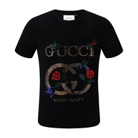 GUCCI new tide brand men's color diamond logo round neck wild T-shirt