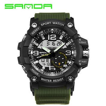 SANDA Men Waterproof Sport Watches Big Size Analog Watch G Style LED Digital Quartz Shock Watches Fashion Casual Wrist Watch