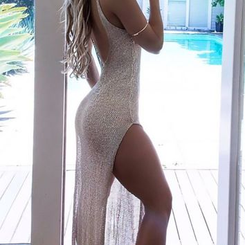 Resort Romance Beach Cover Up Spaghetti Strap Sheer V Neck Mesh Low Back Side Slit Swimsuit Beach
