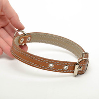 Brown dog collar handmade sewing fashion accessories original present decor eco