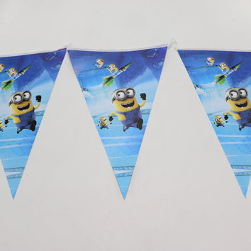 1 set banner including 10 flags cute 2.5m minions cartoon theme happy birthday party supplies kid boy girl baby favor decoration