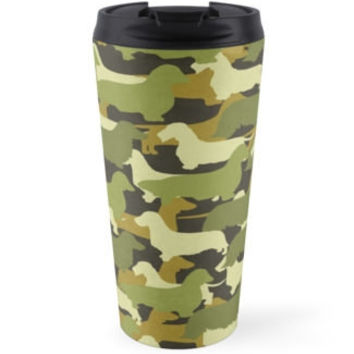 Dachshund Camo Travel Mug Cup Tea Coffee Drink Camouflage Army Green Brown Cream Moss Weenie Dog Doxie Wire Long Smooth Coat Silhouette Gift