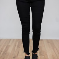 Kan Can Jeans- Black Ankle Distressed