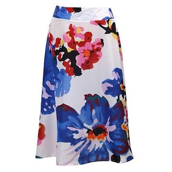 Women Summer High Waisted Floral Printing Elegant Skater Full Circle Pleated A-Line Formal Ladies Midi Skirt