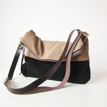 Suede Crossbody Bag, Foldover Bag, Shoulder bag, Slouchy Hobo, Leather Bag, Clutch bag, Clutch purse, Slouchy style